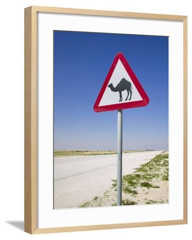 Road Sign-Road to Al-Zubar, Al-Zubara, Qatar-Walter Bibikow-Framed Art Print