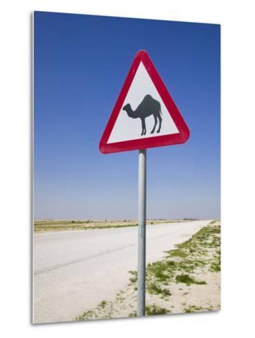 Road Sign-Road to Al-Zubar, Al-Zubara, Qatar-Walter Bibikow-Metal Print