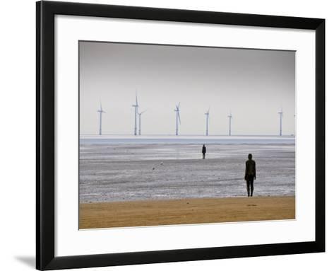 Anthony Gormleys Another Place, Crosby Beach, Merseyside, England, UK-Alan Copson-Framed Art Print