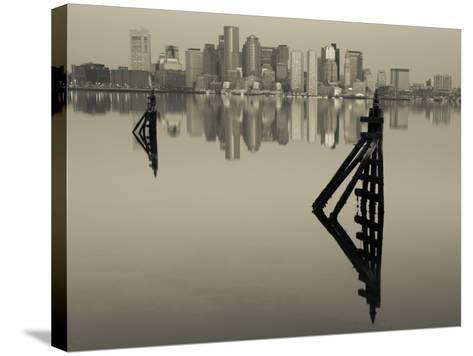 East Boston, Financial District from Logan Airport, Boston, Massachusetts, USA-Walter Bibikow-Stretched Canvas Print