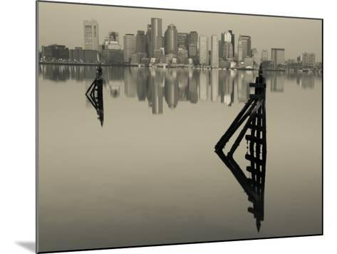 East Boston, Financial District from Logan Airport, Boston, Massachusetts, USA-Walter Bibikow-Mounted Photographic Print