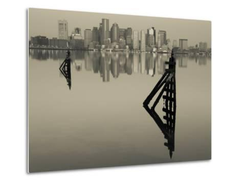East Boston, Financial District from Logan Airport, Boston, Massachusetts, USA-Walter Bibikow-Metal Print