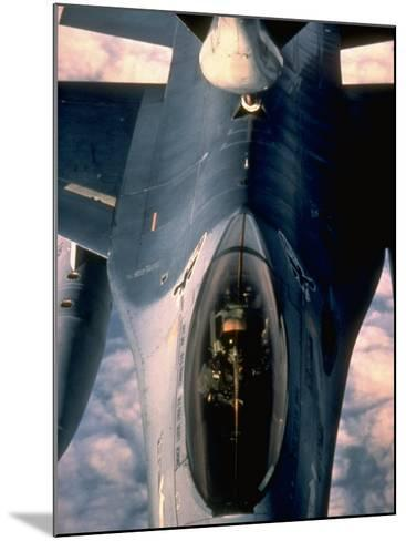 613th Tactical Flight Squadron, F-16A Falcon Fighter Aircraft Taking on Fuel over Sicily--Mounted Photographic Print