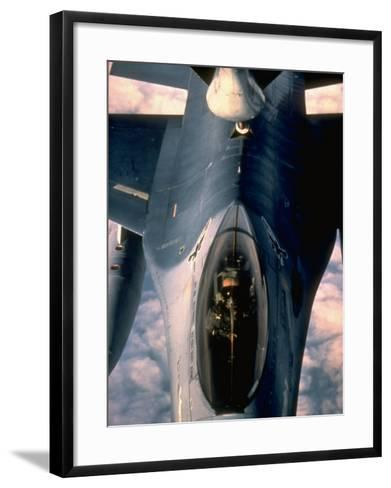 613th Tactical Flight Squadron, F-16A Falcon Fighter Aircraft Taking on Fuel over Sicily--Framed Art Print