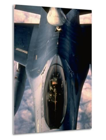 613th Tactical Flight Squadron, F-16A Falcon Fighter Aircraft Taking on Fuel over Sicily--Metal Print