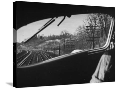 View Looking at the Railroad Tracks from the Front Window of the Train-Peter Stackpole-Stretched Canvas Print