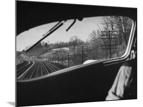 View Looking at the Railroad Tracks from the Front Window of the Train-Peter Stackpole-Mounted Photographic Print