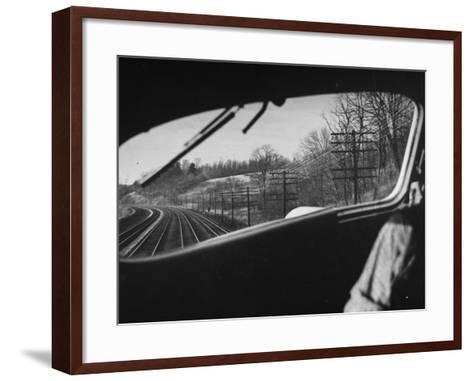 View Looking at the Railroad Tracks from the Front Window of the Train-Peter Stackpole-Framed Art Print