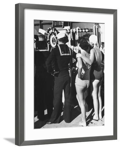 Girls in Bathing Suits Standing on Boardwalk with Sailors Who are on Leave-Peter Stackpole-Framed Art Print