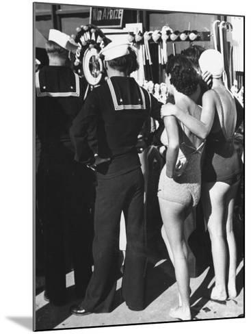 Girls in Bathing Suits Standing on Boardwalk with Sailors Who are on Leave-Peter Stackpole-Mounted Photographic Print