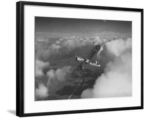 US Army's Ryan, Dragonfly, YO-51 Observation Plane Soaring Above the Clouds-Peter Stackpole-Framed Art Print