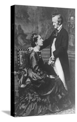 German Composer and Poet Richard Wagner, 1813-1883, with Second Wife Cosima--Stretched Canvas Print