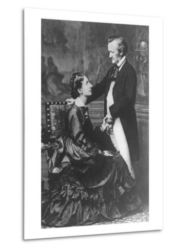 German Composer and Poet Richard Wagner, 1813-1883, with Second Wife Cosima--Metal Print