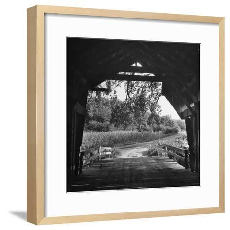 Covered Bridge Entrance Way-Bob Landry-Framed Art Print