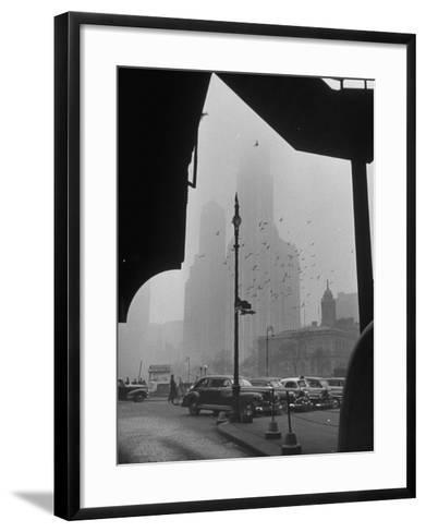 Surrounding the City in Fog, with City Hall and Woolworth Building in Background-Walter Sanders-Framed Art Print