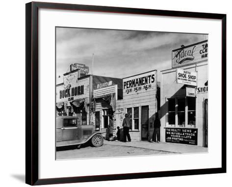 Beauty Parlor Advertising: Permanents: $3.50, $5.00 and $6.50, Shack Town, Fort Peck Dam-Margaret Bourke-White-Framed Art Print