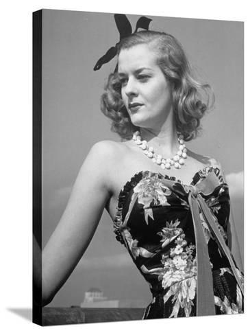 Chintz Used for an Evening Dress, a New Use for This Material-Alfred Eisenstaedt-Stretched Canvas Print