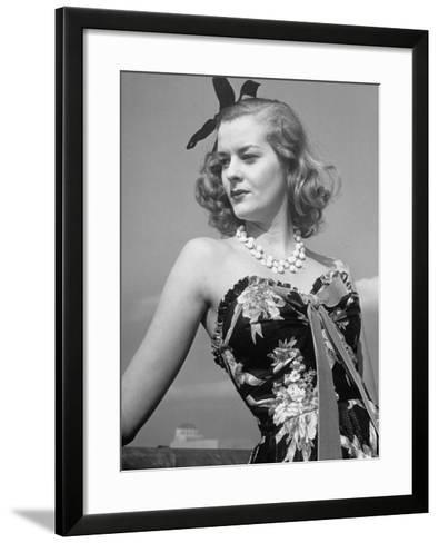 Chintz Used for an Evening Dress, a New Use for This Material-Alfred Eisenstaedt-Framed Art Print
