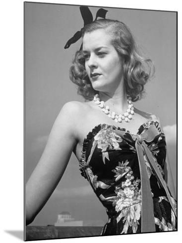 Chintz Used for an Evening Dress, a New Use for This Material-Alfred Eisenstaedt-Mounted Photographic Print