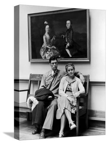 Charles Pope, Track Star and Student Council President Sitting with Katherine Winne-Alfred Eisenstaedt-Stretched Canvas Print