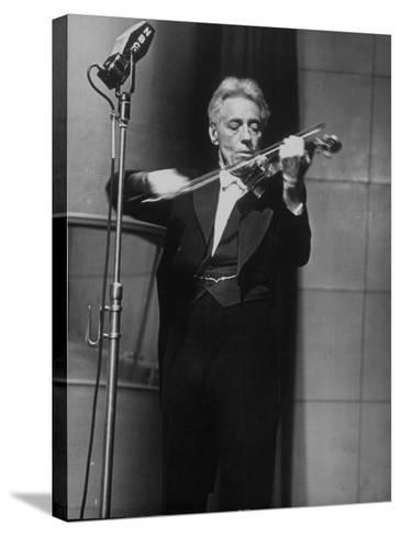 Fritz Kreisler, Austrian-Born Violinist and Composer, Playing Violin During Broadcast at NBC Studio-Alfred Eisenstaedt-Stretched Canvas Print