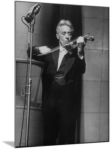 Fritz Kreisler, Austrian-Born Violinist and Composer, Playing Violin During Broadcast at NBC Studio-Alfred Eisenstaedt-Mounted Premium Photographic Print