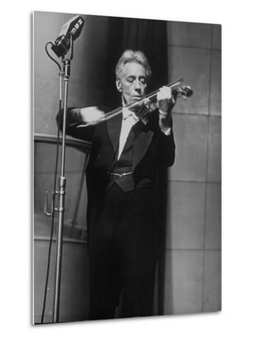 Fritz Kreisler, Austrian-Born Violinist and Composer, Playing Violin During Broadcast at NBC Studio-Alfred Eisenstaedt-Metal Print