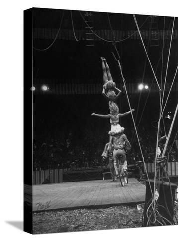 Circus Stacked Up Trio Casually Bicycling around the Board-Ralph Morse-Stretched Canvas Print