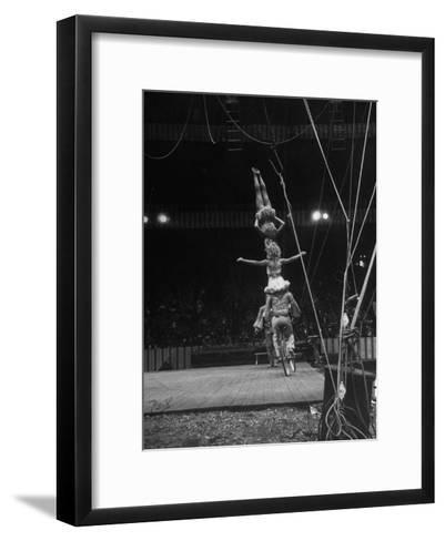Circus Stacked Up Trio Casually Bicycling around the Board-Ralph Morse-Framed Art Print