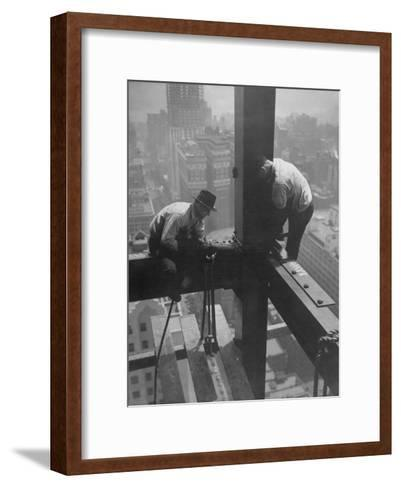 Workmen Attaching Steel Beams High Above Street During Construction of Manhattan Company Building-Arthur Gerlach-Framed Art Print