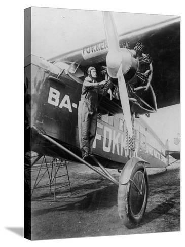 Capt. Richard E. Byrd Posing in the Fokker Plane Which Made Historic Flight to the North Pole--Stretched Canvas Print