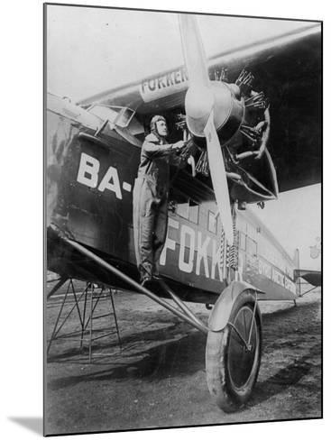 Capt. Richard E. Byrd Posing in the Fokker Plane Which Made Historic Flight to the North Pole--Mounted Premium Photographic Print