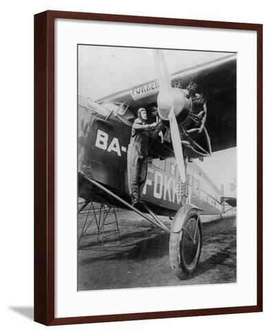 Capt. Richard E. Byrd Posing in the Fokker Plane Which Made Historic Flight to the North Pole--Framed Art Print