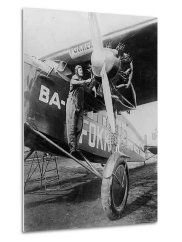 Capt. Richard E. Byrd Posing in the Fokker Plane Which Made Historic Flight to the North Pole--Metal Print