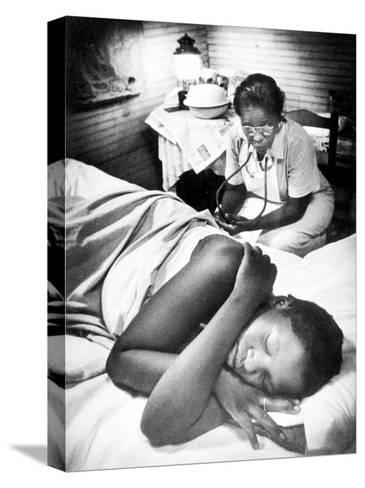 Famous Midwife-Nurse Maude Callen, Attending a Woman in Labor-W^ Eugene Smith-Stretched Canvas Print