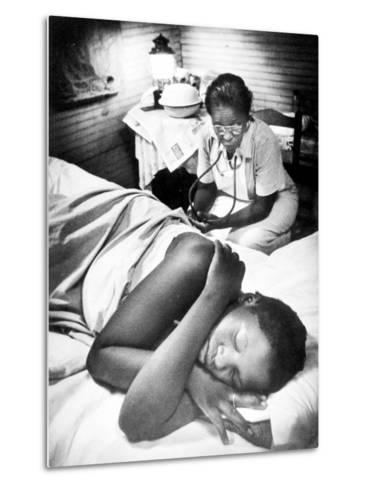 Famous Midwife-Nurse Maude Callen, Attending a Woman in Labor-W^ Eugene Smith-Metal Print