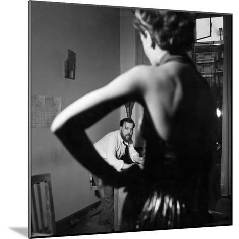Christian Berard Sketching a Model in the Offices of Paris Vogue-Roger Schall-Mounted Premium Photographic Print