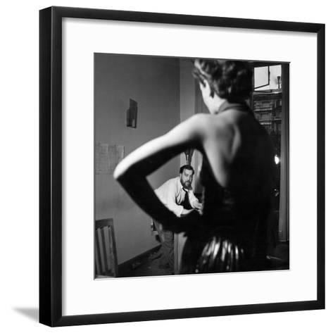 Christian Berard Sketching a Model in the Offices of Paris Vogue-Roger Schall-Framed Art Print