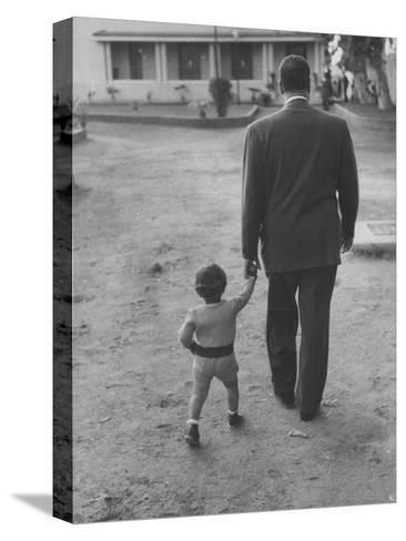 President Gamal Abdul Nasser at His Home with His Small Son Just after Port Said Invasion-Howard Sochurek-Stretched Canvas Print