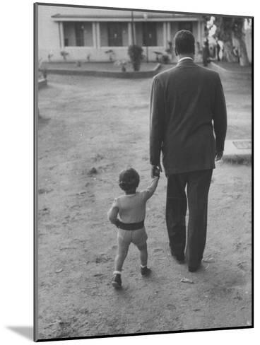 President Gamal Abdul Nasser at His Home with His Small Son Just after Port Said Invasion-Howard Sochurek-Mounted Premium Photographic Print