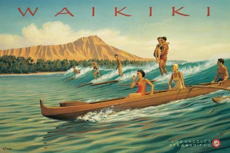 Waikiki-Kerne Erickson-Stretched Canvas Print