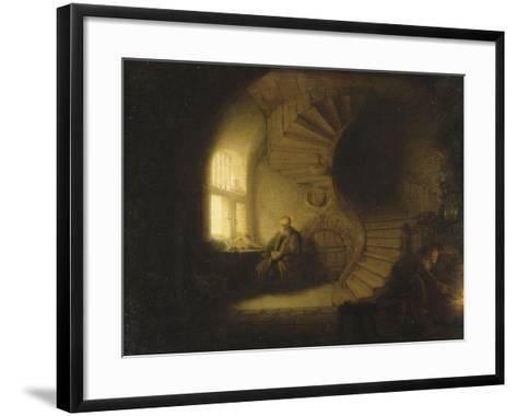 Philosophe en méditation-Rembrandt van Rijn-Framed Art Print
