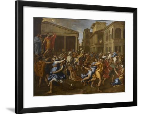 L'enlèvement des Sabines-Nicolas Poussin-Framed Art Print