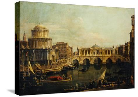 Reconstruction of Castel Sant'Angelo and the Bridge-Canaletto-Stretched Canvas Print