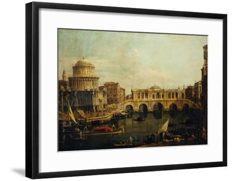 Reconstruction of Castel Sant'Angelo and the Bridge-Canaletto-Framed Art Print