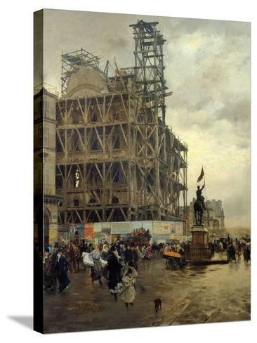 Place Des Pyramides-Giuseppe De Nittis-Stretched Canvas Print