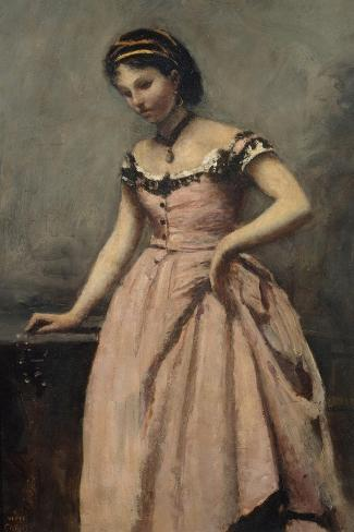 Girl in Pink Dress-Jean-Baptiste-Camille Corot-Stretched Canvas Print