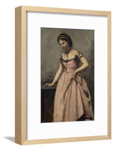 Girl in Pink Dress-Jean-Baptiste-Camille Corot-Framed Art Print