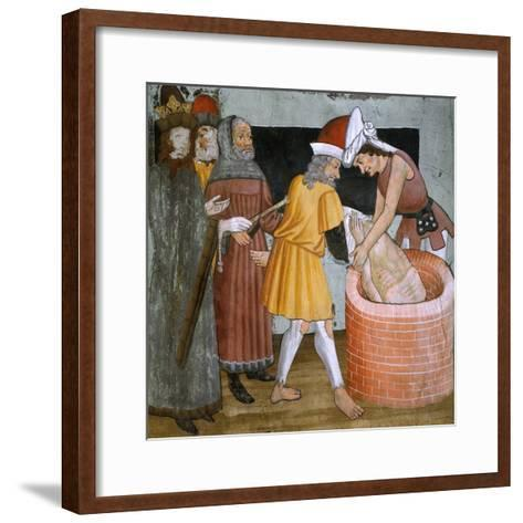 Scenes from the Life of St. Sebastian, the Saint Thrown to the Cloaca Maxima--Framed Art Print