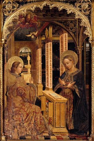 Polyptych with Annunciation and Saints-Mazone Giovanni-Stretched Canvas Print